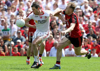 Ulster GAA Senior Football Championship Final, St Tiernach\'s Park, Clones, Co. Monaghan 16/7/2017. Down vs Tyrone. Tyrone\'s Sean Cavanagh and Down\'s Gerard McGovern. Mandatory Credit ©INPHO/Presseye/Philip Magowan