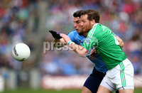 GAA Football All Ireland Senior Championship Quarter-Final, Croke Park, Dublin 2/8/2015. Dublin vs Fermanagh. Dublin\'s Bernard Brogan and Niall Cassidy of Fermanagh. Mandatory Credit ©INPHO/Cathal Noonan