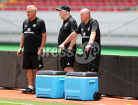 Press Eye - Belfast -  Northern Ireland - 02nd June 2018 - Photo by William Cherry/Presseye. Northern Ireland\'s kit men are ready to get cold drinks for the players in the heat of Saturday mornings training session at the Nuevo Estadio Nacional de Costa Rica in San Jose ahead of Sundays Friendly International against Costa Rica.. Photo by William Cherry/Presseye