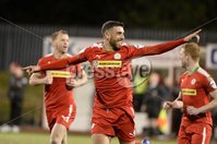 9th May 2018. Europa league play off semi final match between Cliftonville and Ballymena United at Solitude in Belfast.. Cliftonvilles Joe Gormley celebrates after firing his side into a 4-0 lead. Mandatory Credit ©Inpho/Stephen Hamilton