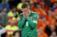 Press Eye - Belfast, Northern Ireland - 16th November 2019 - Photo by William Cherry/Presseye. Northern Ireland\'s Steven Davis misses his penalty after Netherlands\' Joel Veltman uses his arm to control the ball during Saturday nights UEFA Euro 2020 Qualifier at the National Stadium, Belfast.     Photo by William Cherry/Presseye