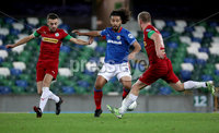 Press Eye - Belfast, Northern Ireland - 29th October 2019 - Photo by William Cherry/Presseye. Linfield\'s Bastien Hery with Cliftonville\'s and Liam Bagnall during Tuesday nights BetMcLean League Cup game at Windsor Park, Belfast.     Photo by William Cherry/Presseye