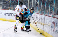 Press Eye - Belfast -  Northern Ireland - 11th January 2019 - Photo by William Cherry/Presseye. Belfast Giants Jonathan Ferland with HK Gomels Andrei Kolosov during Friday nights Continental Cup Final game at the SSE Area, Belfast.   Photo by William Cherry/Presseye
