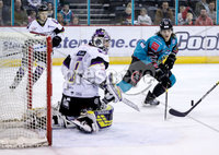 Press Eye - Belfast -  Northern Ireland - 03rd March 2019 - Photo by William Cherry/Presseye. Belfast Giants\' Kevin Raine with Manchester Storm\'s Matt McGinn during Sunday afternoons Elite Ice Hockey League game at the SSE Arena, Belfast.