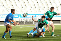 IRB Junior World Championship Pool B, Danie Craven Stadium, Stellenbosch, South Africa 12/6/2012. Italy vs Ireland. Ireland\'s Conor Finn off loads in the tackle. Mandatory Credit ©INPHO/Ron Gaunt
