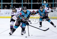 Press Eye - Belfast -  Northern Ireland - 03rd March 2019 - Photo by William Cherry/Presseye. Belfast Giants\' Dustin Johner with Manchester Storm\'s Dallas Ehhrhardt during Sunday afternoons Elite Ice Hockey League game at the SSE Arena, Belfast.