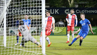 Bet McLean League Cup 3rd Round, Stangmore Park, Dungannon   8/10/2019. Dungannon Swifts FC  vs Linfield FC. Linfield  Jimmy Callacher scores against Dungannon Swifts.. Mandatory Credit  INPHO/Brian Little