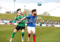 Danske Bank Premiership, The Oval, Belfast, Northern Ireland. 1/5/2021. Glentoran vs Linfield FC . Glentoran Jay Donnelly   and Linfield  Mark Stafford  . Mandatory Credit INPHO/Presseye/Brian Little