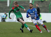 Danske Bank Premiership, The Oval, Belfast, Northern Ireland. 1/5/2021. Glentoran vs Linfield FC . Glentoran Rhys Marshall   and Linfield  Navid Nasseri . Mandatory Credit INPHO/Presseye/Brian Little