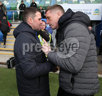 Danske Bank Premiership, Windsor Park,Belfast  13/4/2019. Linfield vs Crusaders. Linfield\'s  manager David Healy at the final whistle with         Crusaders manager  Stephen Baxter. Mandatory Credit INPHO/Brian Little