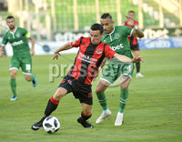 Wednesday 11th July 2018. UEFA Champions League First Qualifying Round First Leg between PFC Ludogorets Razgrad and Crusaders FC .. Ludogorets Natanfael Batista Pimenta in action with Crusaders Paul Heatley. Mandatory Credit: Inpho/Stephen Hamilton