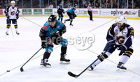 Press Eye - Belfast -  Northern Ireland - 03rd February 2019 - Photo by William Cherry/Presseye. Belfast Giants\' Chris Higgins with Guildford Flames\' Erik Lindhagen during Friday nights Elite Ice Hockey League game at the SSE Arena, Belfast.   Photo by William Cherry/Presseye