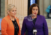 27th October 2018 - Picture by Matt Mackey / PressEye.com. Sinn Fein leaders  Mary Lou McDonald and leader in the North Michelle O\'Neill talk to the media in Parliament building, Stormont, Belfast