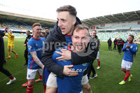 Danske Bank Premiership, Windsor Park,Belfast  13/4/2019. Linfield vs Crusaders. Linfield\'s Andrew Mitchell and  Joel Cooper  at the final whistle with  Jordan Stewart after winning the Danske Bank Premiership title.. Mandatory Credit INPHO/Brian Little
