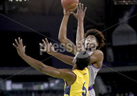 Press Eye - Belfast -  Northern Ireland - 02nd December 2017 - Photo by William Cherry/Presseye. La Salle University\'s Tony Washington with College of the Holy Cross\'s Jehyve Floyd during Saturday afternoons Basketball Hall of Fame Belfast Classic game at the SSE Arena, Belfast.  Photo by William Cherry/Presseye