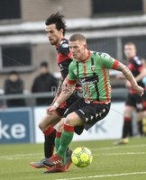 Danske Bank Premiership, Seaview Belfast.. Co Antrim 02/12/17. Crusaders v Glentoran. Mandatory Credit ©INPHO/Stephen Hamilton. Crusaders Declan Caddell  in action with Glentorans Eric Foley.