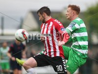 ©/Presseye.com - 19th May 2017.  Press Eye Ltd - Northern Ireland - Airtricity League Premier Division - Derry City V Shamrock Rovers. Shamrock Rovers\'s Gary Shaw and Derry\'s Aaron Barry.. Mandatory Credit Photo Lorcan Doherty / Presseye.com