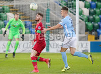 County Antrim Shield Final -  Windsor Park.  21.01.20. Cliftonville FC vs Ballymena United. Cliftonvilles Ruaidhri Donnelly with Ballymenas Scot Whiteside. Mandatory Credit INPHO/Jonathan Porter