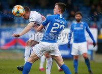 Sadlers Peaky Blinder Irish Cup Round 5 at Mourneview, Lurgan.  04.01.2020.  FC v Coleraine FC. Glenavons James Singleton with Coleraines Ian Parkhill. Mandatory Credit INPHO/Jonathan Porter