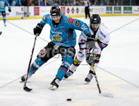 Press Eye - Belfast -  Northern Ireland -16th November 2019 - Photo by Darren Kidd/Presseye . Belfast Giants\' Paul Swindlehurst with Dundee Stars during Saturday nights Elite Ice Hockey League game at the SSE Arena, Belfast.    Photo by Darren Kid/Presseye