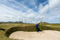 2018 Dubai Duty Free Irish Open - Day 1, Ballyliffin Golf Club, Co. Donegal 5/7/2018. Padraig Harrington hits out of a bunker on the eighth hole. Mandatory Credit ©INPHO/Oisin Keniry