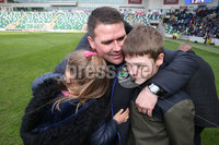 Danske Bank Premiership, Windsor Park,Belfast  13/4/2019. Linfield vs Crusaders. Linfield\'s  manager David Healy at the final whistle with  his children after winning the Danske Bank Premiership title.. Mandatory Credit INPHO/Brian Little