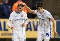 Danske Bank Premiership, Stangmore Park, Dungannon, Co. Tyrone 13/1/2018. Dungannon Swifts vs Coleraine. Coleraine\'s Eoin Bradley celebrates his goal with teammates . Mandatory Credit ©INPHO/Matt Mackey
