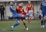 9th January 2021. Danske Bank Premiership, Solitude, Belfast . Cliftonville vs Crusaders. Cliftonville\'s Rory Hale   in action with Crusaders Robbie Weir. Mandatory Credit INPHO/Stephen Hamilton
