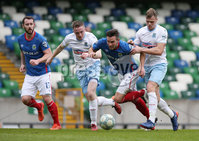 Danske Bank Premiership Play-off , Windsor Park, Belfast  7/4/2018. Linfield FC vs Ballymena United. Linfield\'s   Andrew Waterworth  challenged by  Leroy Millar       and  Andrew Burns    of Ballymena United.. Mandatory Credit @INPHO/Brian Little