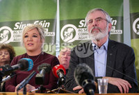 Press Eye Belfast - Northern Ireland 13th November 2017. Sinn Fein hold a press conference at Stormont regarding the ongoing talk to get the Northern Ireland Assembly up-and-running. . Northern leader Michelle O\'Neill and president Gerry Adams pictured at the press conference. . Picture by Jonathan Porter/PressEye.com