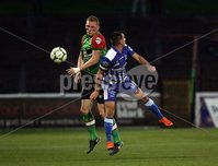 Danske Bank Premiership, NIFL. The Oval, Belfast.. 07-09-2018. Glentoran v Newry City AFC. Steven Gordon Glentoran and Mark Hughes Newry. Mandatory Credit ©INPHO/Freddie Parkinson