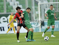 Wednesday 11th July 2018. UEFA Champions League First Qualifying Round First Leg between PFC Ludogorets Razgrad and Crusaders FC .. Ludogorets Svetoslav Atanasov Dyakov in action with Crusaders Philip Lowry. Mandatory Credit: Inpho/Stephen Hamilton