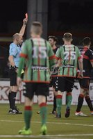Danske Bank Premiership, Seaview Belfast.. Co Antrim 02/12/17. Crusaders v Glentoran. Mandatory Credit ©INPHO/Stephen Hamilton. Crusaders Howard Beverland gets a second yellow card for this challenge on Glentorans Robbie McDaid.