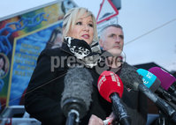 Press Eye - Belfast - Northern Ireland - 8th January 2018. Sinn Fein\'s Michelle O\'Neill and Declan Kearney hold a press conference at the party\'s office on the Falls Road in west Belfast following the three month suspension of MP for West Tyrone Barry McElduff following a twitter post he made. . Picture by Jonathan Porter/PressEye