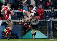 European Rugby Champions Cup Round 5, Kingspan Stadium, Belfast 13/1/2018. Ulster vs La Rochelle. Ulster\'s Charles Piutau taken out by Paul Jordaan of La Rochelle. Mandatory Credit ©INPHO/Tommy Dickson