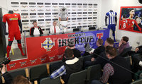 Press Eye - Belfast -  Northern Ireland - 27th April 2018 - Photo by William Cherry/Presseye. Cliftonville Captain Chris Curran and assistant manager Harry Fay pictured during Wednesday nights Tennents Irish Cup Press Conference at the National Stadium, Belfast.