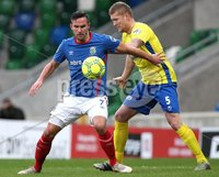 Danske Bank Premiership, Windsor Park, Belfast 2/12/2017 . Linfield vs Dungannon Swifts. Linfield\'s Andrew Waterworth and David Armstrong of Dungannon Swifts. Mandatory Credit ©INPHO/Brian Little