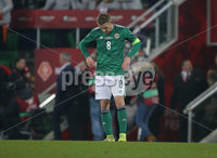 PressEye-Northern Ireland- 16th November 2019-Picture by Brian Little/PressEye. Northern Ireland captain Steven Davis at the final whistle against  Netherlands   during Saturday\'s EURO 2020 Qualifier at the National Football Stadium at Windsor Park.. Picture by Brian Little/PressEye