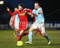 Danske Bank Premiership, Ballymena United vs Cliftonville, The Ballymena Showgrounds, Co. Antrim . 3/4/2018 . Ballymena United\'s Tony Kane in action with Cliftonville\'s Tomas. Cosgrove. Mandatory Credit ©INPHO/Matt Mackey
