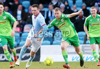 Bet McLean Cup Semi-Final, Showgrounds, Co. Antrim 10/2/2018. Ballymena United vs Cliftonville. Ballymena\'s Kevin Braniff with Cliftonville\'s Liam Bagnall. Mandatory Credit ©INPHO/Jonathan Porter