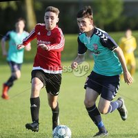 ©/Presseye.com - 17th July 2017.  Press Eye Ltd - Northern Ireland - Hughes Insurance Foyle Cup 2017- U-17 - Derry City V Willowbank FC (Belfast). Derry\'s Ethan Harkin and Williowbank\'s Daniel Harmon..  . Mandatory Credit Photo Lorcan Doherty / Presseye.com