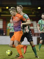 . Danske Bank Premiership,The Oval Belfast 14/11/2017. Glentoran v Glenavon. Mandatory Credit ©INPHO/Stephen Hamilton. Glentorans Johnny Addis  in action with Glenavons Andy Mitchell