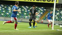 UEFA Europa League- Qualifying Third Round-2nd Leg, Windsor Park, Belfast  12/8/2019. Linfield FC vs FK FK Sutjeska. Linfield\'s Joel Cooper sets up    Matthew Clarke for a goal against FK Sutjeska.. Mandatory Credit  INPHO/Brian Little