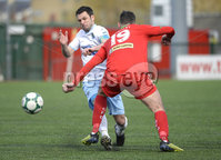 13th April 2019. Danske Bank Irish premiership. Cliftonville v Ballymena United at Solitude Belfast.. Cliftonville\'s Joe Gormley  in action with Ballymena\'s Jim Ervin. Mandatory Credit -Inpho/Stephen Hamilton .