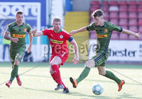 UEFA Europa League First Qualifying Round First Leg, Solitude, Belfast 12/7/2018. Cliftonville vs Nordsjaelland. Cliftonville Chris Curran with Nordsjaelland Karlo Bartlec(left) and Andreas Olsen. Mandatory Credit ©INPHO/Jonathan Porter