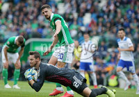 Press Eye Belfast - Northern Ireland 8th September 2018. UEFA Nations League 2019 Final Tournament at the National Stadium at Windsor Park.  Northern Ireland Vs Bosnia and Herzegovina. . Northern Ireland\'s Craig Cathcart with Bosnia and Herzegovina\'s goalkeeper Ibrahim Šehić.. Picture by Jonathan Porter/PressEye.com