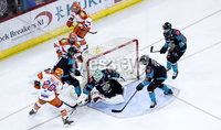 Press Eye - Belfast -  Northern Ireland - 06th January 2019 - Photo by William Cherry/Presseye. Belfast Giants\' Tyler Beskorowany saves a shot from Sheffield Steelers\' Jonathan Phillips during Sunday afternoons Elite Ice Hockey League game at the SSE Arena, Belfast.    Photo by William Cherry/Presseye