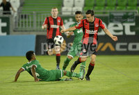 Wednesday 11th July 2018. UEFA Champions League First Qualifying Round First Leg between PFC Ludogorets Razgrad and Crusaders FC .. Ludogorets Neuciano de Jesus Gusamo Cicinho in action with Crusaders Paul Heatley. Mandatory Credit: Inpho/Stephen Hamilton