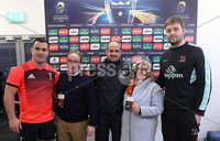 European Rugby Champions Cup Round 4, Kingspan Stadium, Belfast 15/12/2017. Ulster vs Harlequins. Harlequins\' captain Dave Ward, referee Alexandre Ruiz and Ulster captain Iain Henderson with Heineken experience winners Ronnie and Mandy Allen at the coin toss. Mandatory Credit ©INPHO/Tommy Dickson