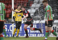 Danske Bank Premiership, Seaview Belfast.. 10/02/2018.  Crusaders v Glentoran. Crusaders Billy Joe Burns celebrates after scoring to make it 2-1. Mandatory Credit ©INPHO/Stephen Hamilton.